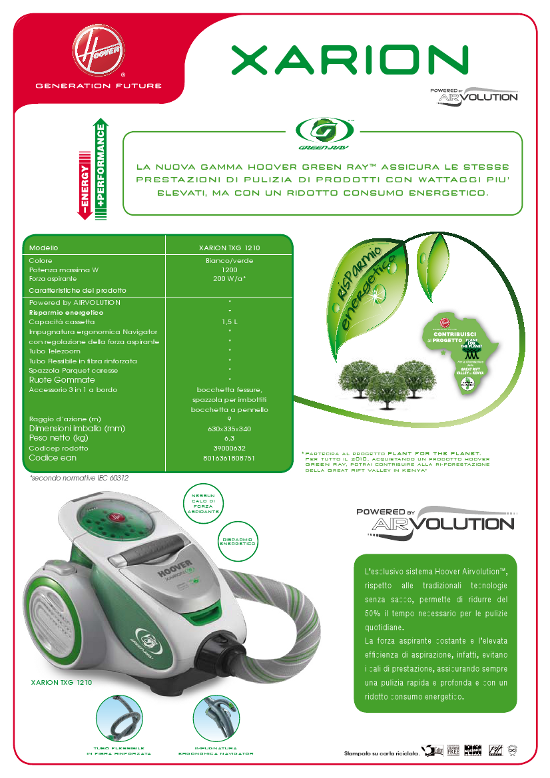 Cs, CAREservice hoover-aspira-brochure-traini-green-ray HOOVER | TRAINI GREEN RAY [BROCHURE] Brochure Hoover  Green Ray catalogo Brochure