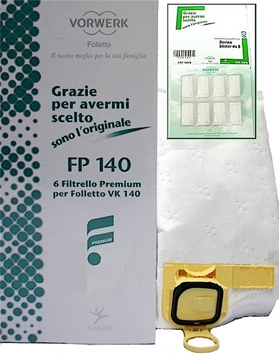 Cs, CAREservice 05092 VORWERK | Kobold Folletto – Filtrello premium FP140 + dovina [Cod.05092] Folletto VK140 VK150  Vorwerk Kobold Folletto